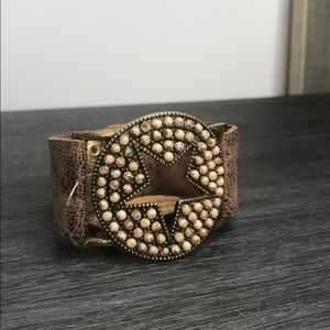 Jewelry - Star Leather Bracelet with Natural Colored Stones
